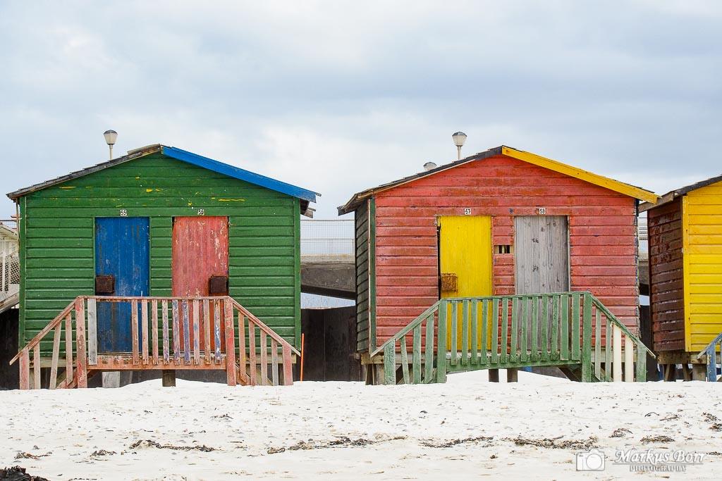 Südafrika False Bay farbige Strandhäuschen